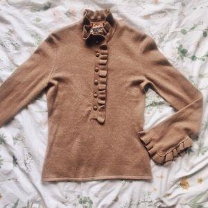 NWT Tory Burch Deneuve Frill 100% Cashmere Sweater